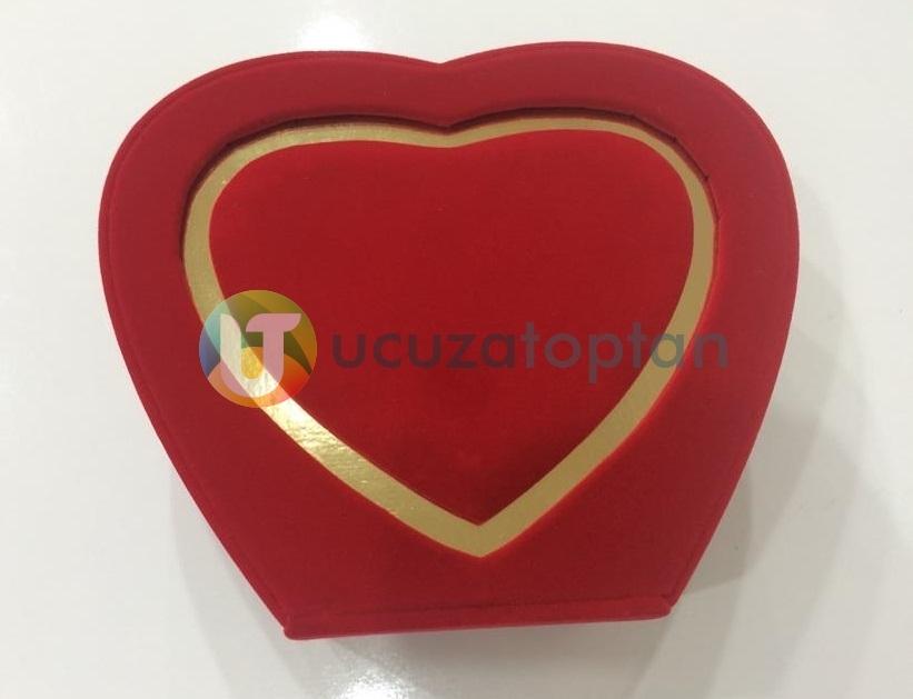 Özel Kırmızı Kalp Kadife Kutulu Lüks Şişe - 75 ml