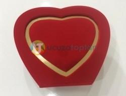 Özel Kırmızı Kalp Kadife Kutulu Lüks Şişe - 75 ml - Thumbnail