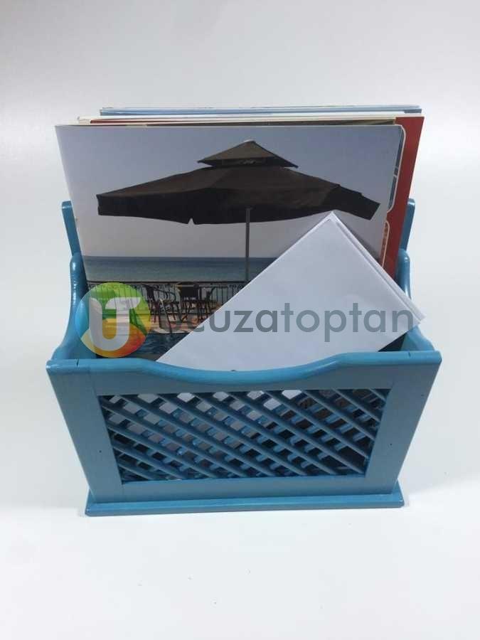 Alaçatı Mavisi El Yapımı Posta Kutusu Gazetelik Faturalık (28 x 28 cm)