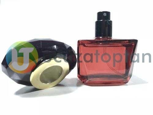 Bordo Renk Siyah Sürlin Kapak 25 ml Tester Cam Şişe - 1 Koli (210 Adet)