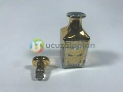 Cam Kapaklı 150 ml Altın Sarısı Esans Şişesi Kare Model (1 Koli 60 Adet) - Thumbnail