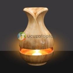 Çok Fonksiyonlu Bambu Kokusu Şişesi İçin Hazneli Ahşap Vazo - Thumbnail