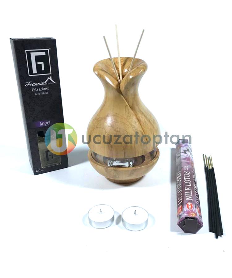 Çok Fonksiyonlu Bambu Kokusu Şişesi İçin Hazneli Ahşap Vazo