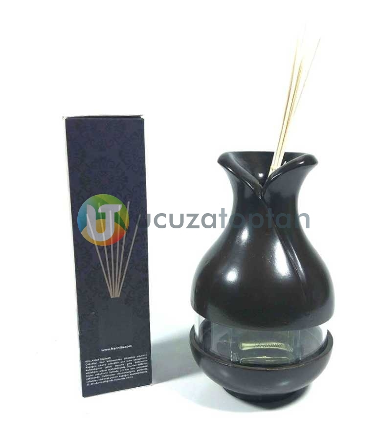 Çok Fonksiyonlu Bambu Kokusu Şişesi İçin Hazneli Ahşap Vazo (Kahverengi)