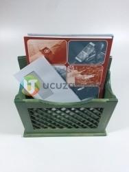 Fıstık Yeşili El Yapımı Çam Ağacı Posta Kutusu Gazetelik (28 x 28 cm) - Thumbnail