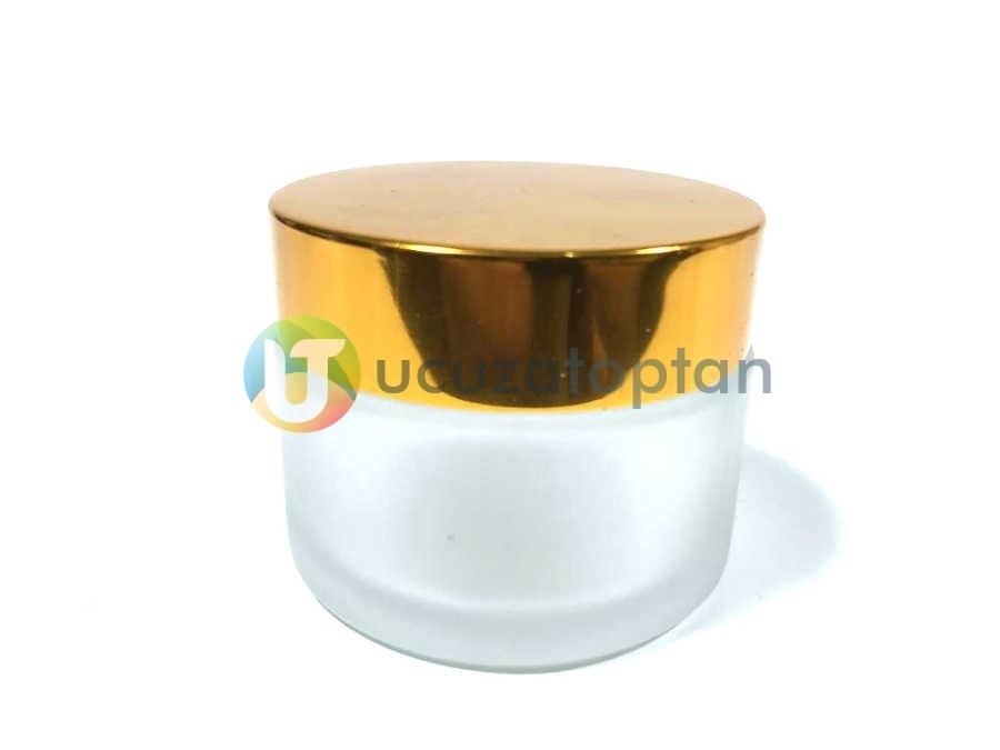 Gold Renk Kapaklı Cam Kavanoz 50 cc Krem Şişesi