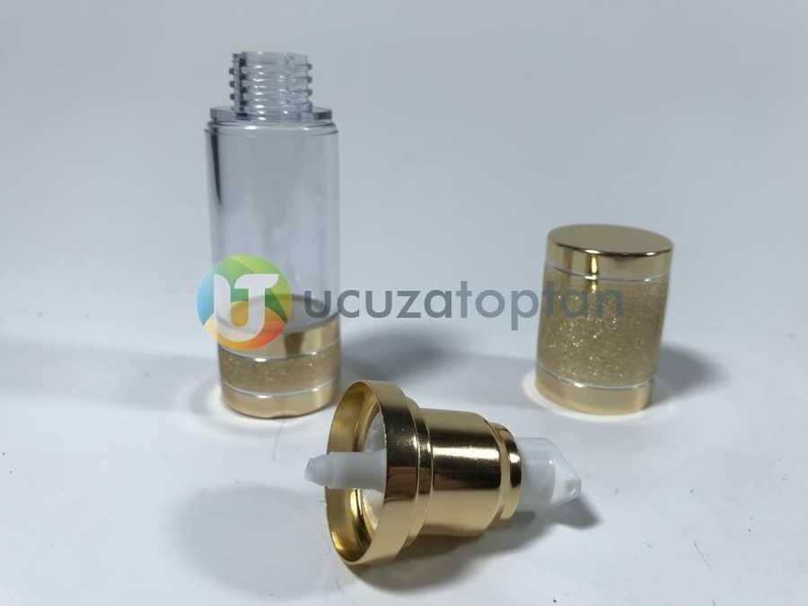 Gold Renk Valfsiz Asansörlü 30 cc PVC Krem Likit Şişesi (1 Koli-300 Adet)