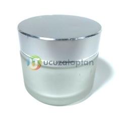 Gümüş Renk Kapaklı Cam Kavanoz 30 cc Krem Şişesi - Thumbnail