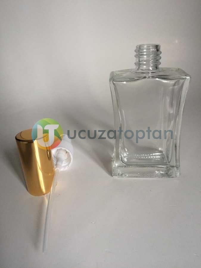 Vidalı Valf 50 ml Boş Cam Parfüm Şişesi İnce Belli - (1 Koli)