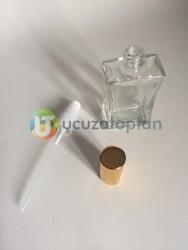 Vidalı Valf 50 ml Boş Cam Parfüm Şişesi İnce Belli - (1 Koli 140 Adet) - Thumbnail