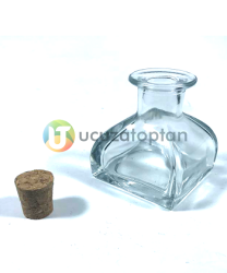 100 ml Kübik Difüzör Model Mantarlı Şişe (1 Koli 60 Adet) - Thumbnail