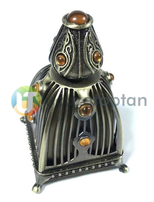 Piramit Model 30cc Metal Kaplamalı Şık Dekoratif Esans Şişesi