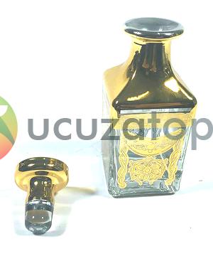 Cam Kapaklı 150 ml Altın Sarısı Esans Şişesi Kare Model (1 Koli 60 Adet)