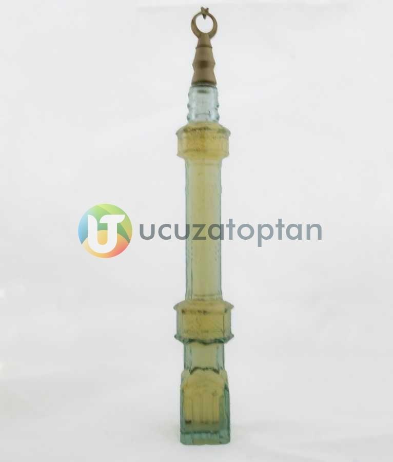 Cami Minaresi Tasarımlı Renkli Dekoratif Kolonya Şişesi 1 Koli 36 Adet