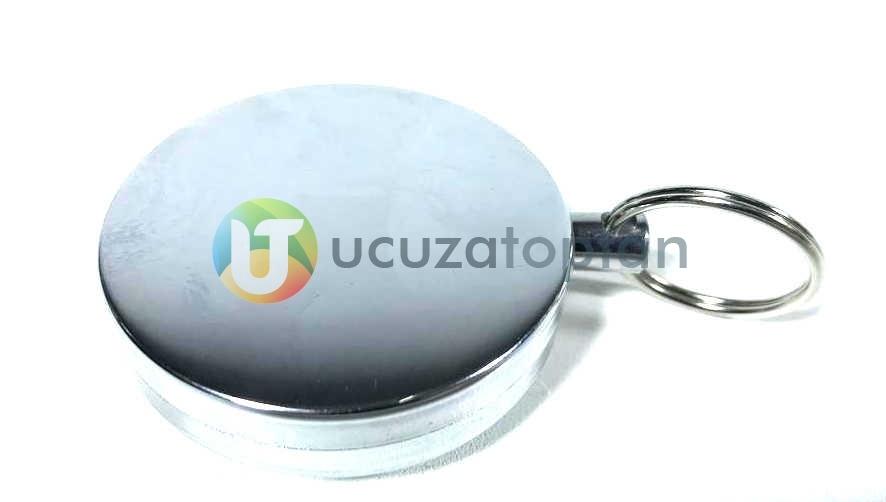 Çelik İpli Büyük Boy Metal Yoyo Anahtarlık - Çap 5 cm
