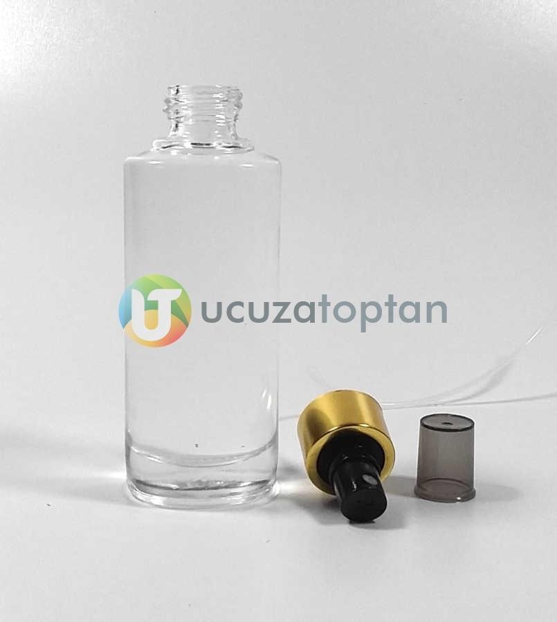 Çevirme Valfli 100 ml Elips Boş Cam Parfüm Şişesi - (1 Koli 90 Adet)