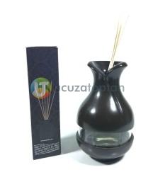 Çok Fonksiyonlu Bambu Kokusu Şişesi İçin Hazneli Ahşap Vazo (Kahverengi) - Thumbnail