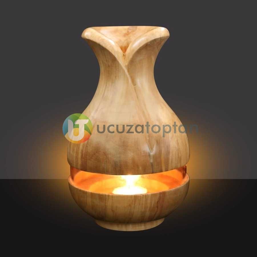 Çok Fonksiyonlu Bambu Kokusu Şişesi İçin Hazneli Ahşap Vazo (Krem Renk)