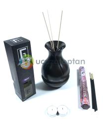 Çok Fonksiyonlu Bambu Kokusu Şişesi İçin Hazneli Ahşap Vazo (Krem Renk) - Thumbnail