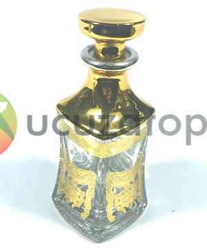 Dekoratif Altın Sarısı Desenli 200 cc Esans Şişesi (1 Koli 60 Adet)