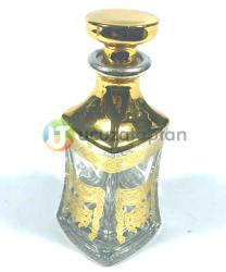 Dekoratif Altın Sarısı Desenli 200 cc Esans Şişesi (1 Koli 60 Adet) - Thumbnail