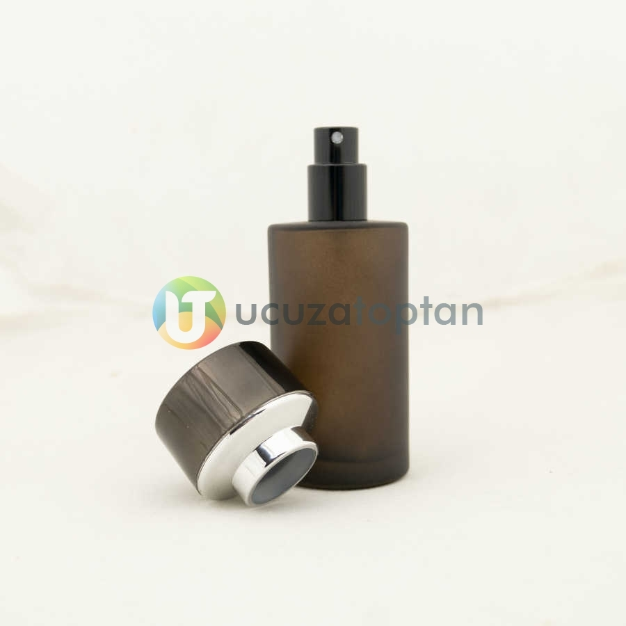 Kahverengi Kavuk Kapaklı 50 cc Silindir Cam Parfüm Şişesi 1 Koli 120 Adet