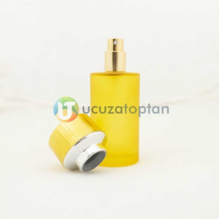 Sarı Renk Kavuk Kapaklı 50 cc Silindir Cam Parfüm Şişesi 1 Koli 120 Adet