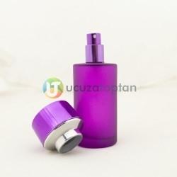 Fuşya Renk Kavuk Kapaklı 50 cc Silindir Cam Parfüm Şişesi 1 Koli 120 Adet - Thumbnail