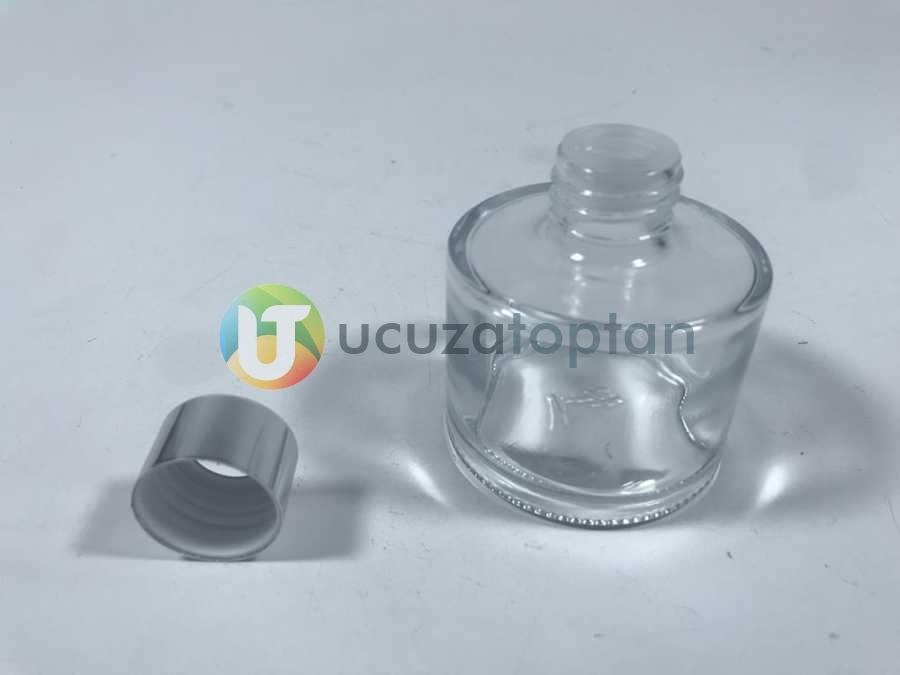 Gümüş Renk Kapaklı 100 ml Silindir Bambu Koku Şişesi - 1 Koli (56 Adet)