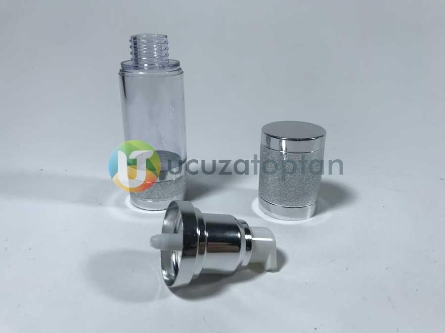 Gümüş Renk Valfsiz Asansörlü 30 cc PVC Krem Likit Şişesi (1 Koli-300 Adet)