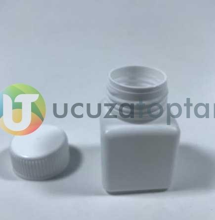Vidalı Kapaklı Kare Küp 50 ml Çok Amaçlı Plastik Şişe (1 Koli: 200 Adet)