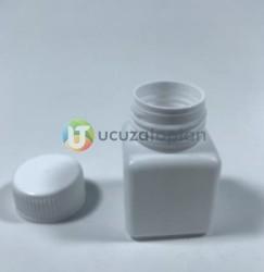 Vidalı Kapaklı Kare Küp 50 ml Çok Amaçlı Plastik Şişe (1 Koli: 200 Adet) - Thumbnail