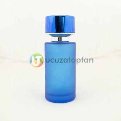 Mavi Renk Kavuk Kapaklı 50 cc Silindir Cam Parfüm Şişesi 1 Koli 120 Adet