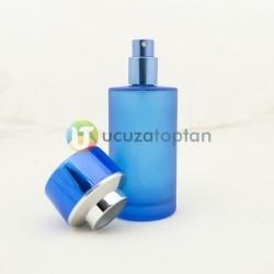 Mavi Renk Kavuk Kapaklı 50 cc Silindir Cam Parfüm Şişesi 1 Koli 120 Adet - Thumbnail