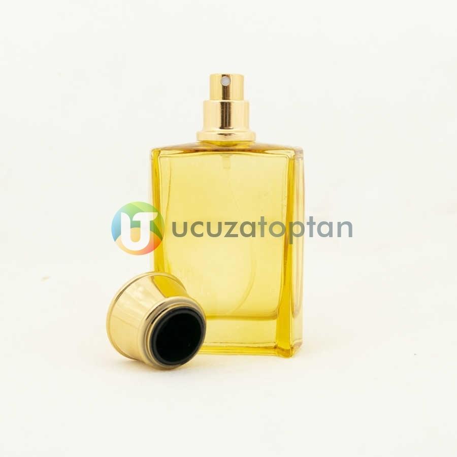 Sarı Renk Vezir Kavuğu Kapaklı 50 cc Cam Parfüm Şişesi 1 Koli 120 Adet