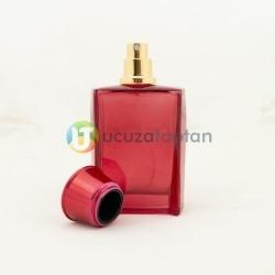 Kırmızı Renk Vezir Kavuğu Kapaklı 50 cc Cam Parfüm Şişesi 1 Koli 120 Adet - Thumbnail