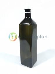 Köşeli 1000 cc Amber Kahverengi Şişe (1 litre) - Thumbnail