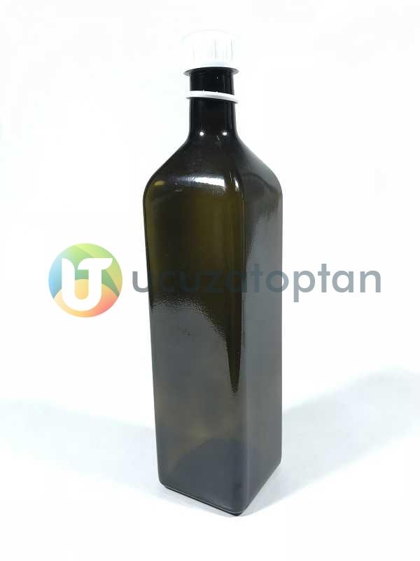 Köşeli 1000 cc Amber Kahverengi Şişe (1 litre)