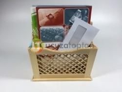 Krem Renk El Yapımı Doğal Ahşap Gazetelik ve Posta Kutusu - 28 cm - Thumbnail