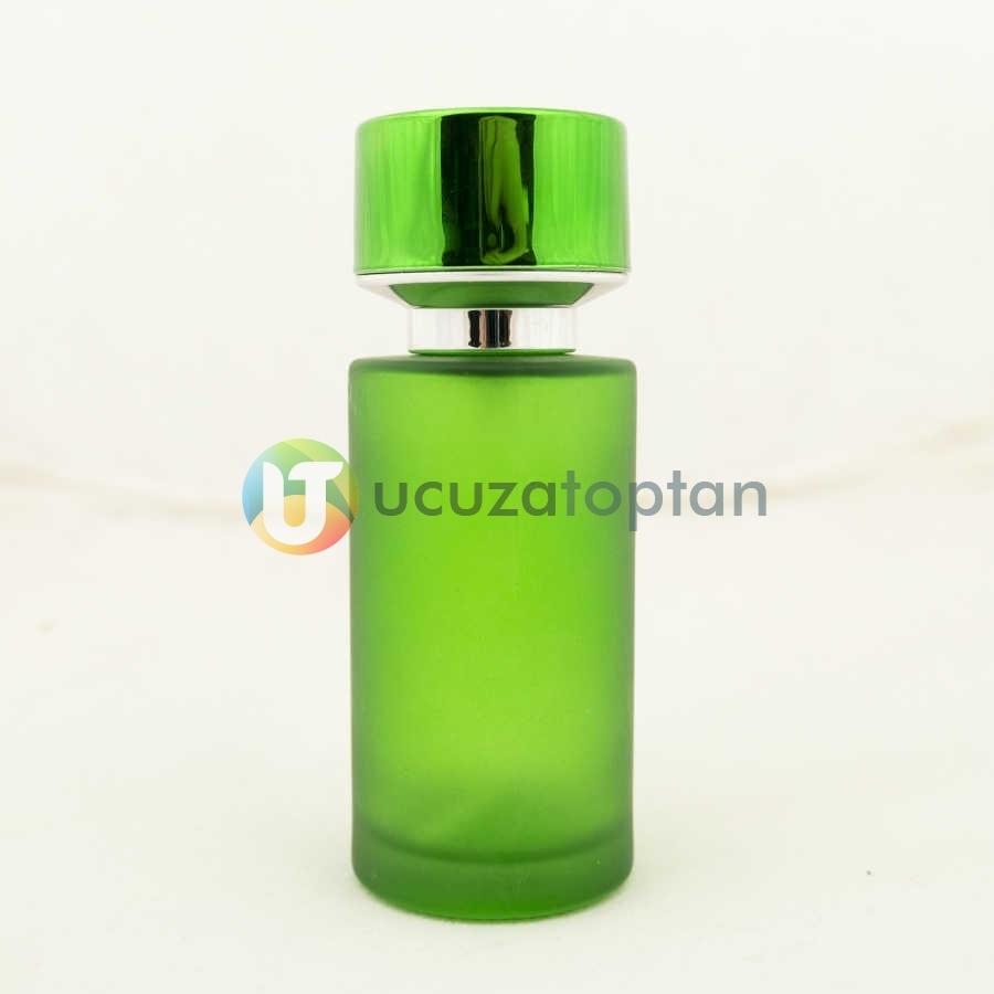 Fıstık Yeşili Kavuk Kapaklı 50 cc Silindir Cam Parfüm Şişesi 1 Koli 120 Adet