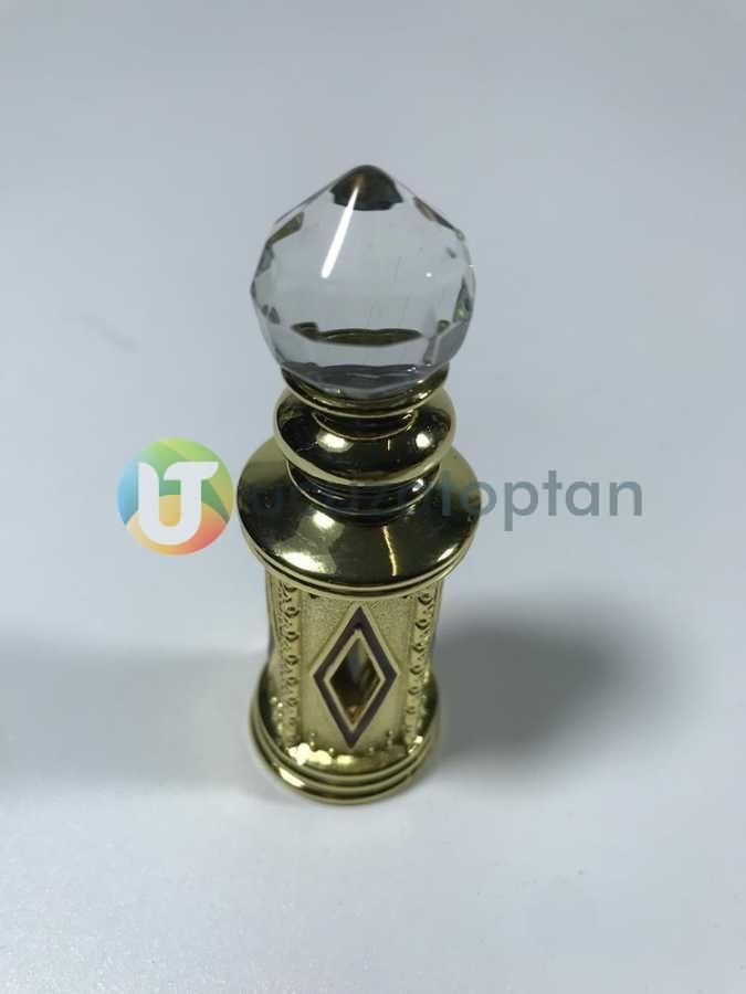 Kristal Topuz Başlıklı Metal Kaplamalı 5 ml Sürme ve Esans Şişesi