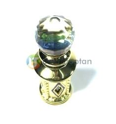 Kristal Topuz Başlıklı Metal Kaplamalı 5 ml Sürme ve Esans Şişesi - Thumbnail