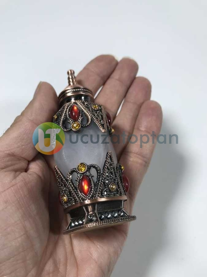 Osmanlı Model Taşlı Metal Kaplamalı 10 ml Dekoratif Sürme ve Esans Şişesi