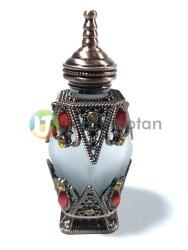 Osmanlı Model Taşlı Metal Kaplamalı 10 ml Dekoratif Sürme ve Esans Şişesi - Thumbnail