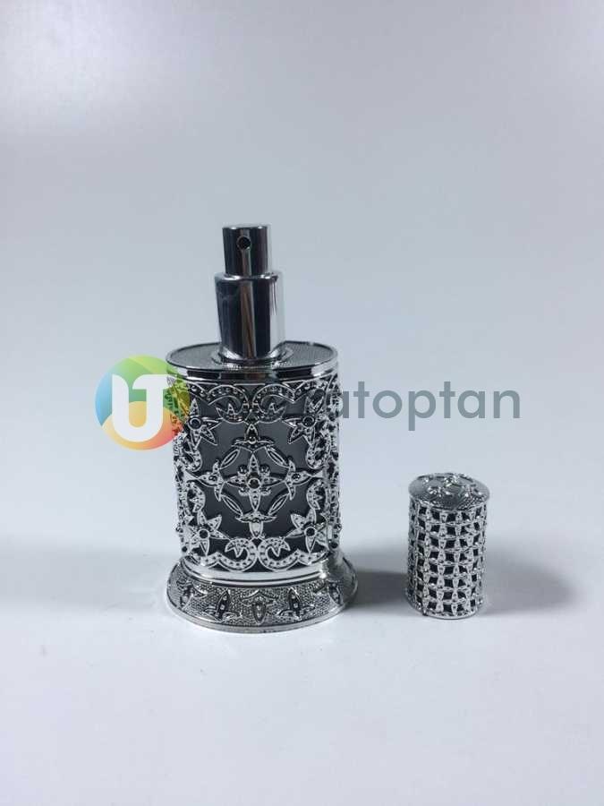 Plastik Kaplama Desenli 50 cc Boş Cam Parfüm Şişesi (1 Koli 96 Adet)