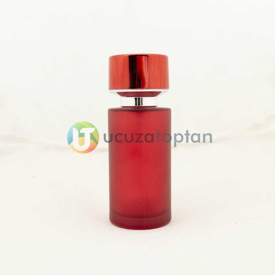 Kırmızı Renk Kavuk Kapaklı 50 cc Silindir Cam Parfüm Şişesi 1 Koli 120 Adet