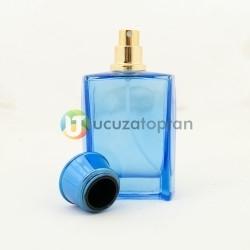 Turkuaz Renk Vezir Kavuğu Kapaklı 50 cc Cam Parfüm Şişesi 1 Koli 120 Adet - Thumbnail