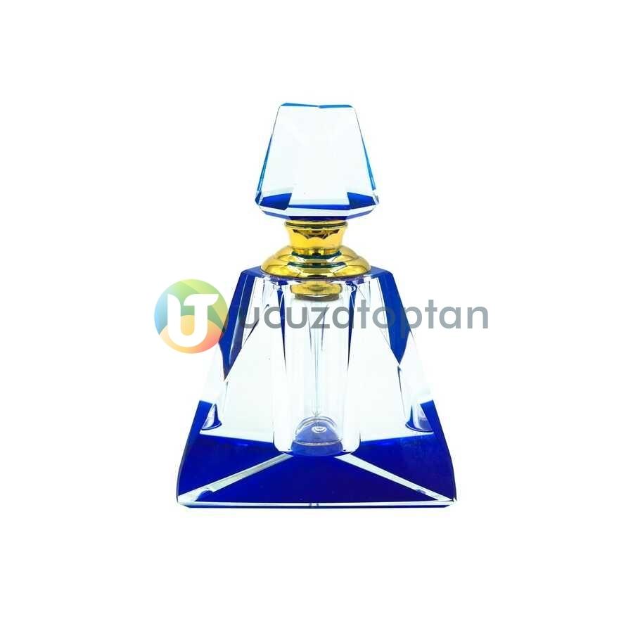 Üç Boyutlu Kristal 30cc Dekoratif Mavi Renk Esans Şişesi