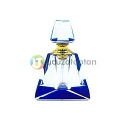 Üç Boyutlu Kristal 30cc Dekoratif Mavi Renk Esans Şişesi - Thumbnail