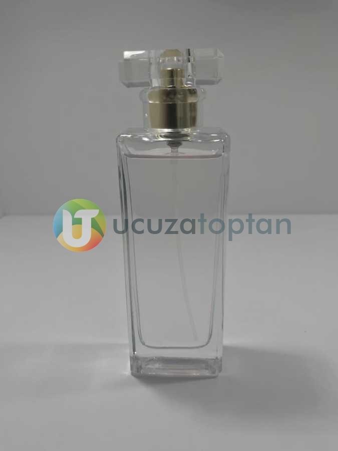 Şık Model Kapatma Valf 55 ml Boş Cam Parfüm Şişesi - (1 Koli 100 Adet)
